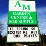 funny sign, garden centre sign, am garden centre sign